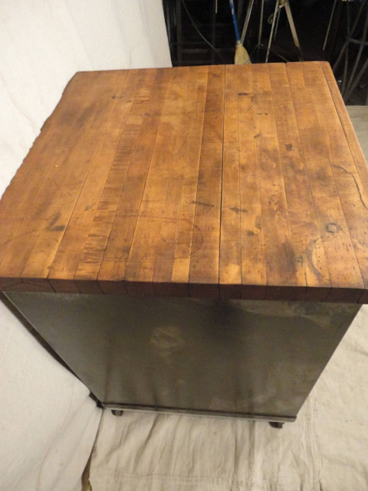 Factory Cabinet With Butcher Block Top For Sale At 1stdibs