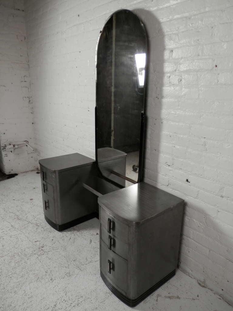 Double Pedestal Mid Century Modern Metal Vanity With