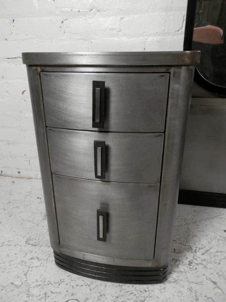 Double Pedestal Mid Century Modern Metal Vanity With