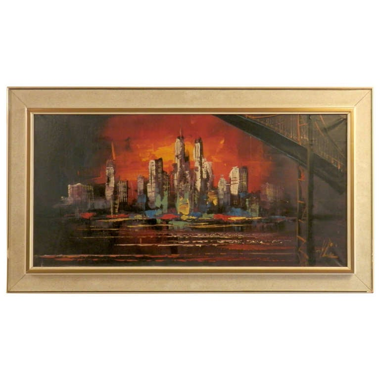 Sunset Skyline Painting Signed