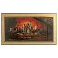 Sunset Skyline Painting Signed