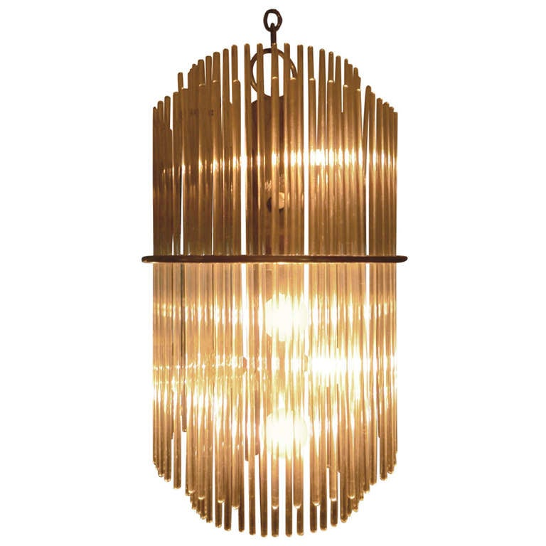 Glass Chandelier by Gaetano Sciolari for Lightolier
