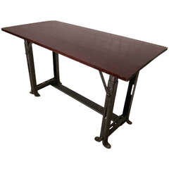 Industrial Metal Work Table with Refinished Top