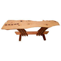Nakashima Inspired Table w/ Charming Butterfly Inlay