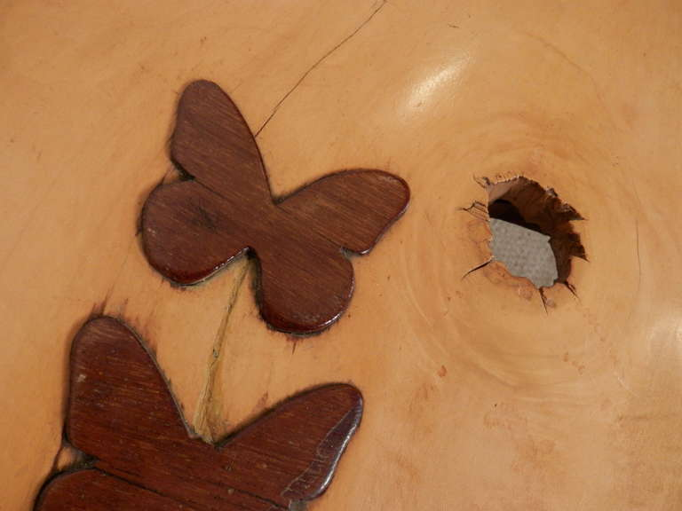 Nakashima Inspired Table W Charming Butterfly Inlay For