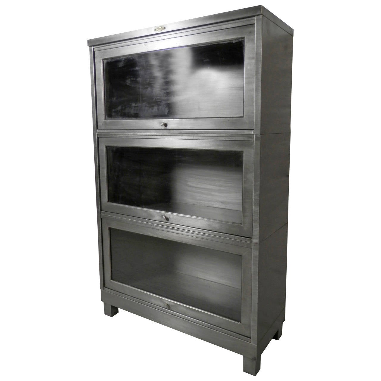 Restored Barrister Metal Bookcase 1 - Restored Barrister Metal Bookcase At 1stdibs