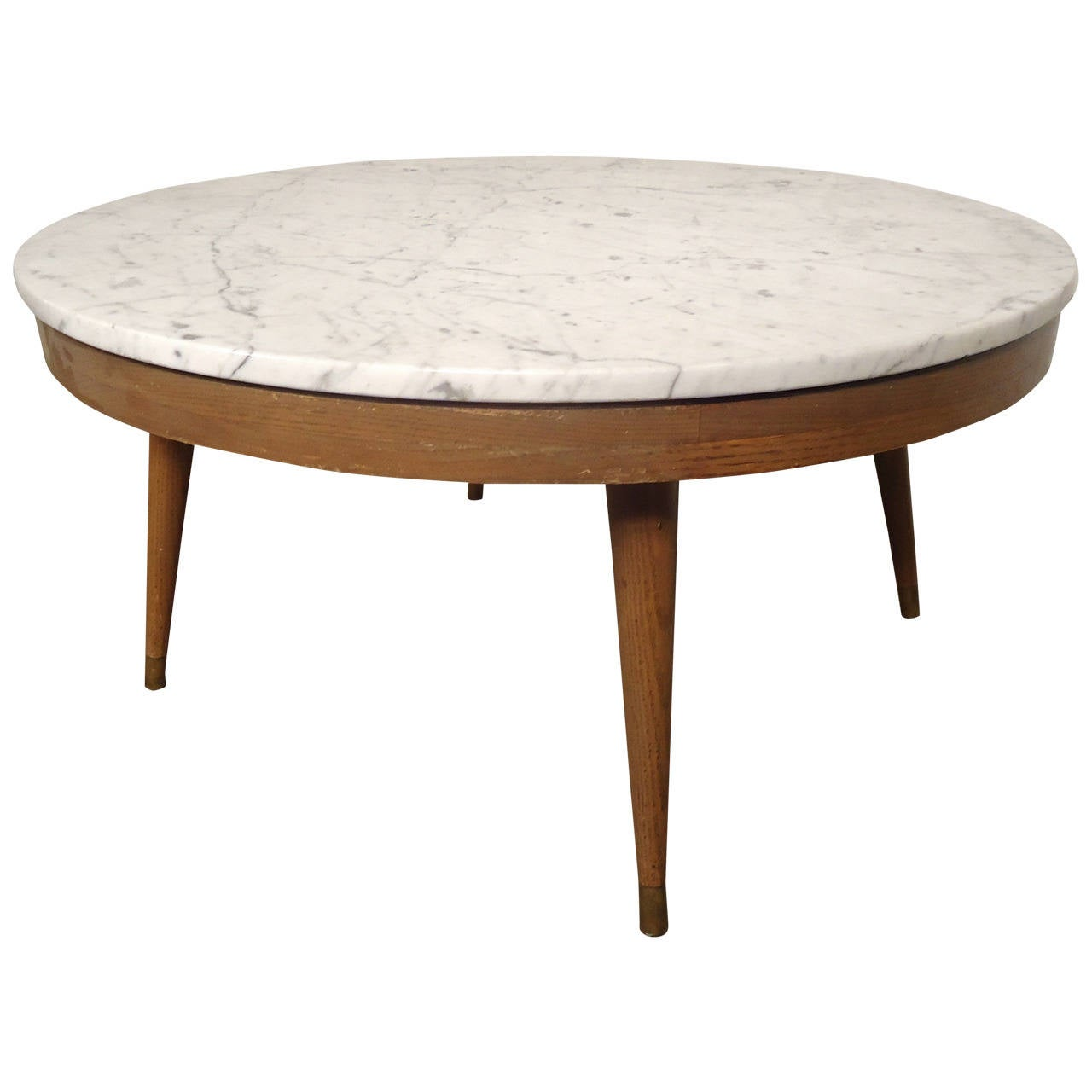 Paul mccobb inspired coffee table with marble top at 1stdibs for Stone topped coffee tables