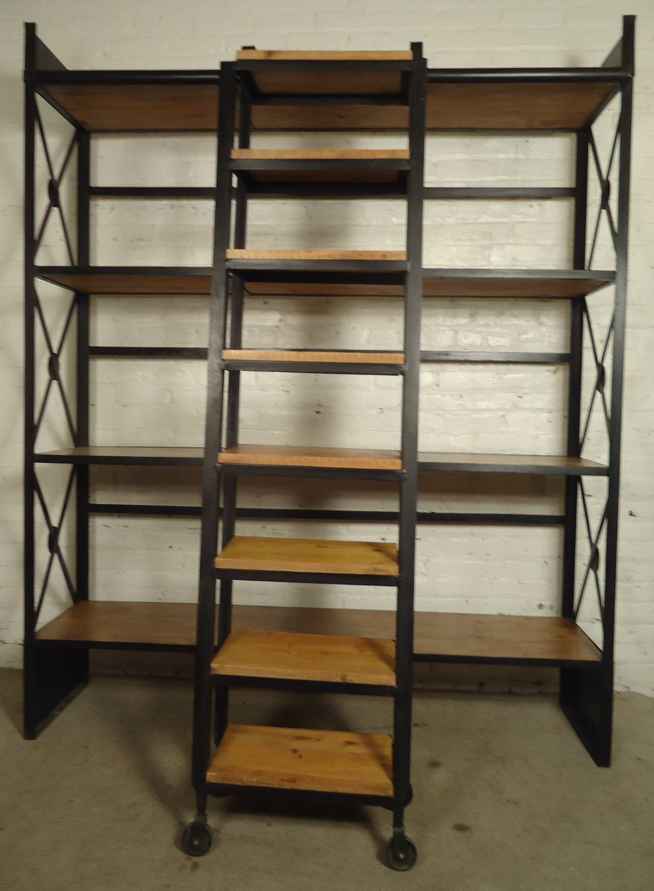 Industrial Wood and Iron Shelving Unit with Sliding Ladder at 1stdibs