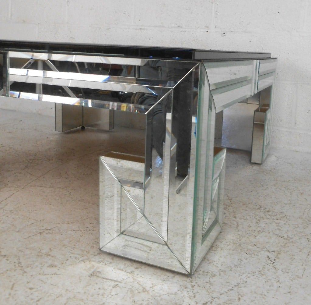 Exquisite Mid Century Modern Beveled Mirror And Glass Designer Coffee Table At 1stdibs