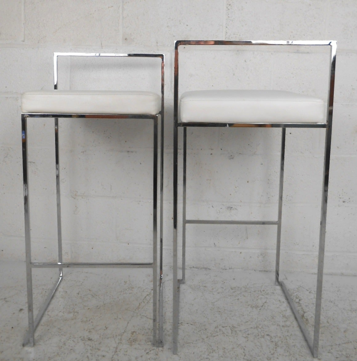 Set of Mid-Century Modern Chrome Bar Stools Attributed to Milo ...