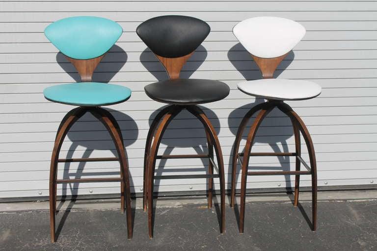 3 norman cherner swivel plycraft counter stools at 1stdibs - Norman cherner barstool ...