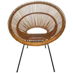 Italian Rattan Scoop Chair by Franco Albini