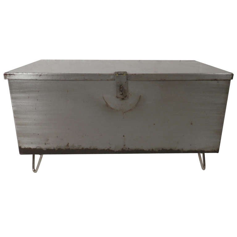 Refurbished metal trunk coffee table at 1stdibs Metal chest coffee table