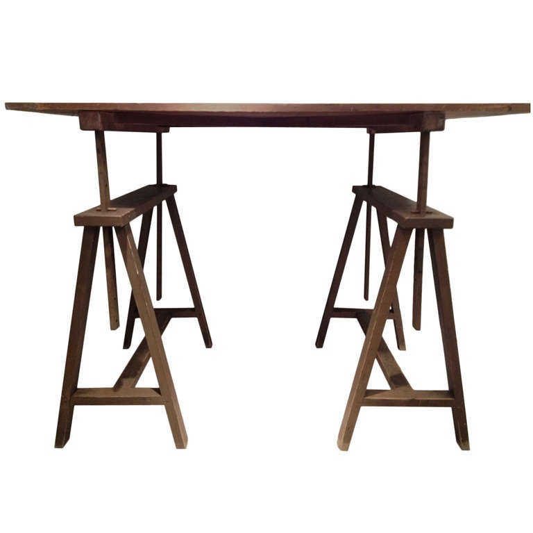 Unusual Early Xx Century Italian Wooden Drafting Machine Table.