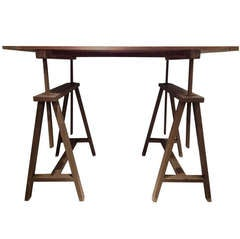 Unusual Early Xx Century Italian Wooden Drafting Machine Table.