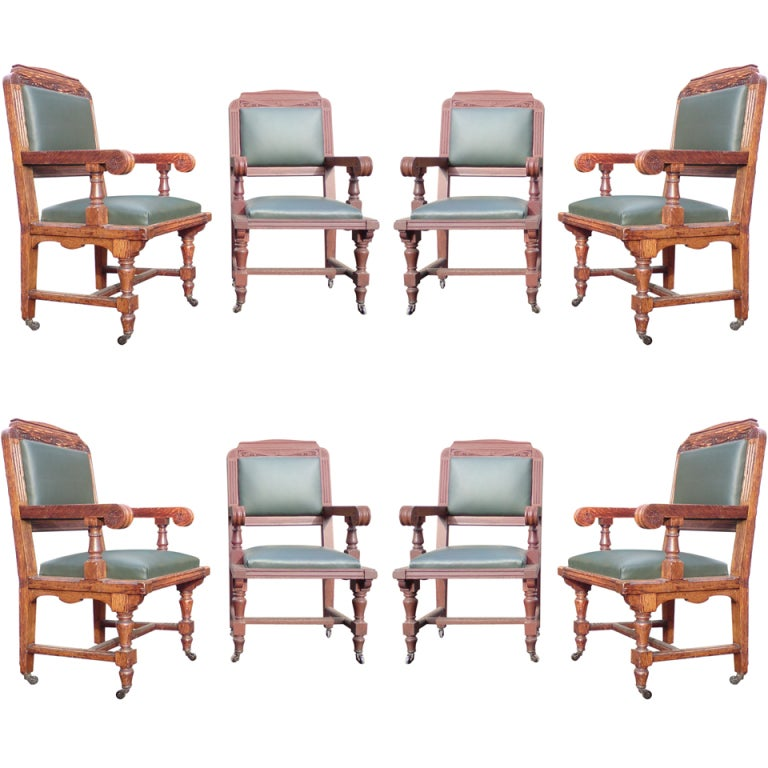 Set of Eight 19th Century Arts & Crafts Oak Dining Chairs 'All with Arms'