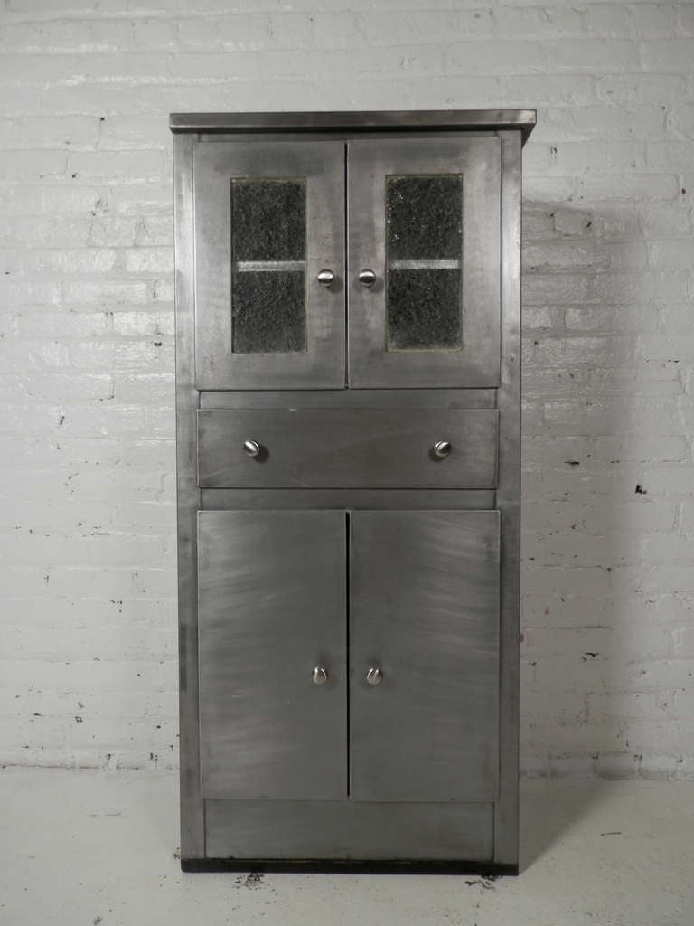 Industrial Tall Mid Century Modern Metal Cabinet For Sale