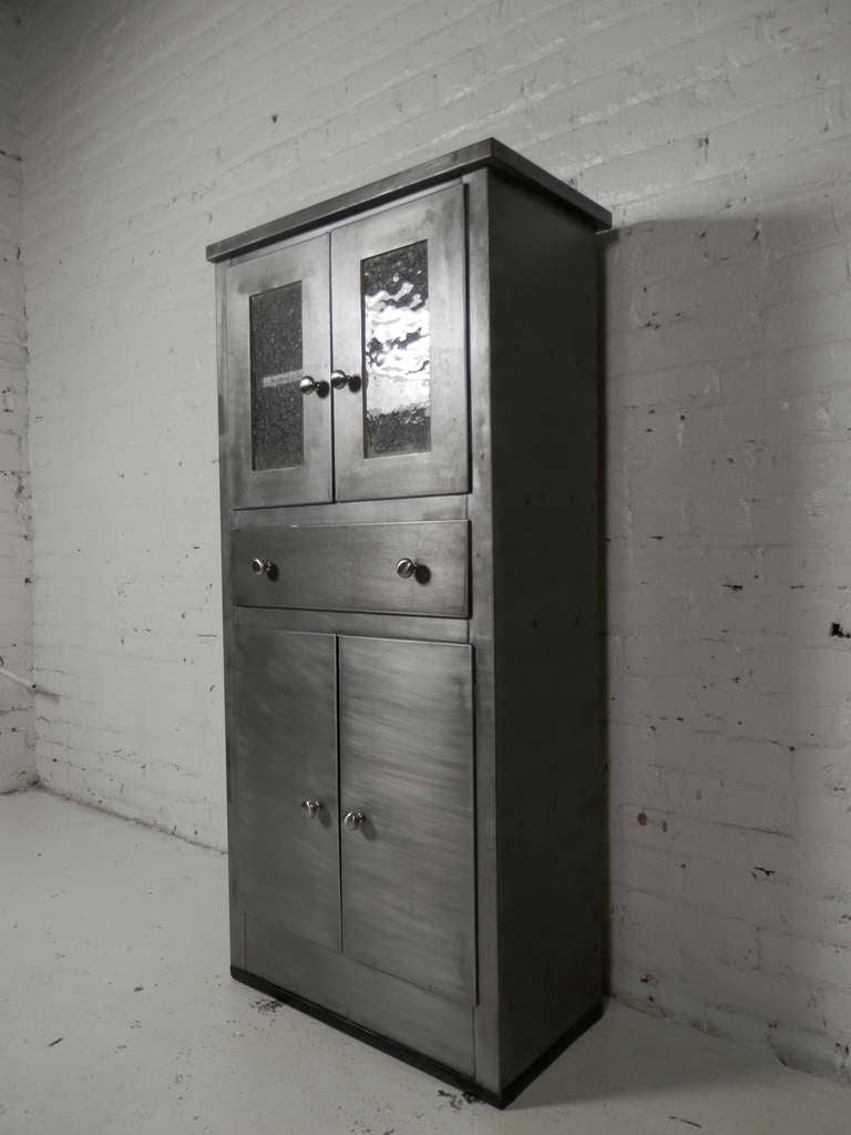 Tall Mid Century Modern Metal Cabinet At 1stdibs