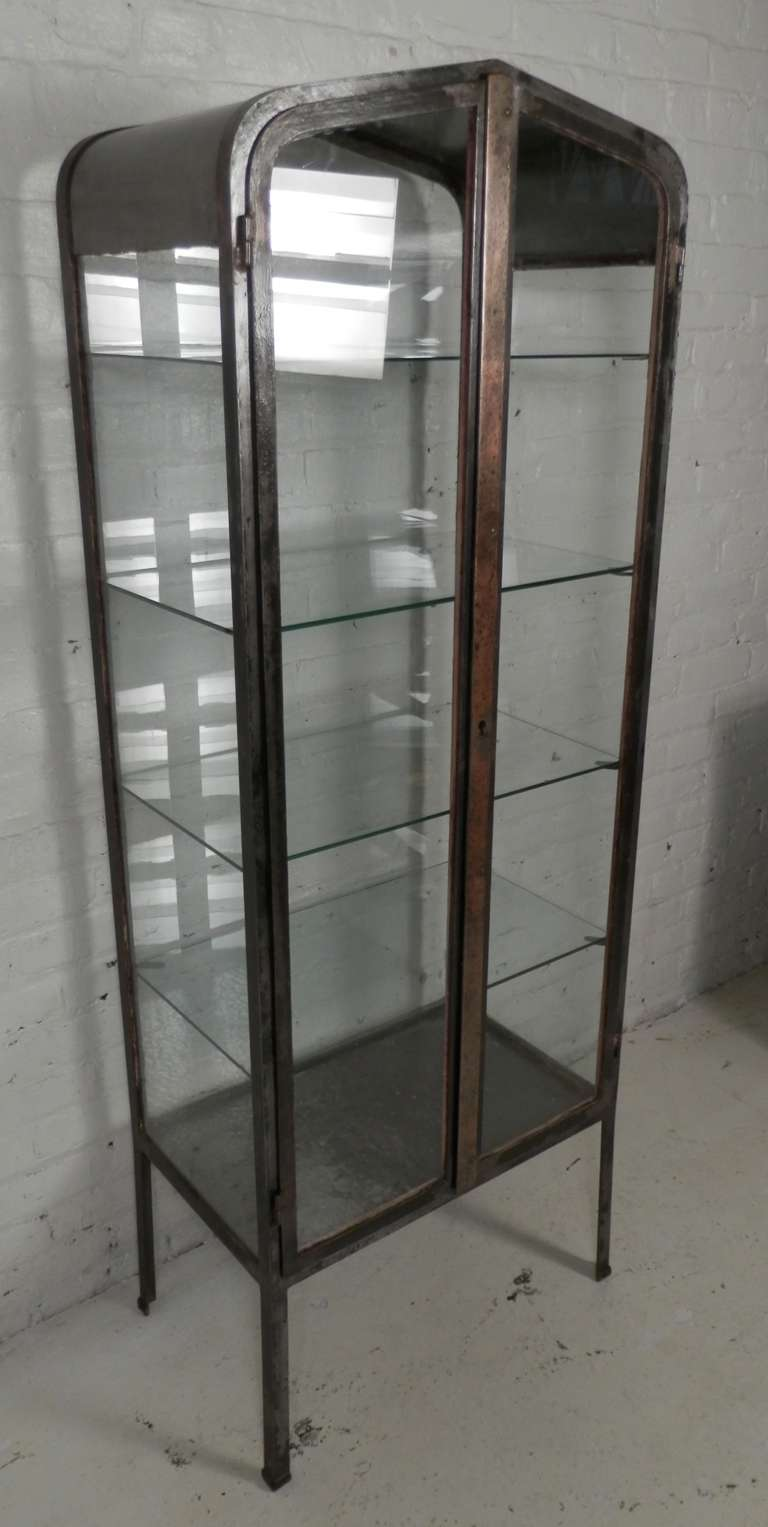 Vintage pharmacists Apothecary cabinet. Industrial revolution era glass on  all sides, arch top, - Vintage Apothecary Metal Cabinet At 1stdibs