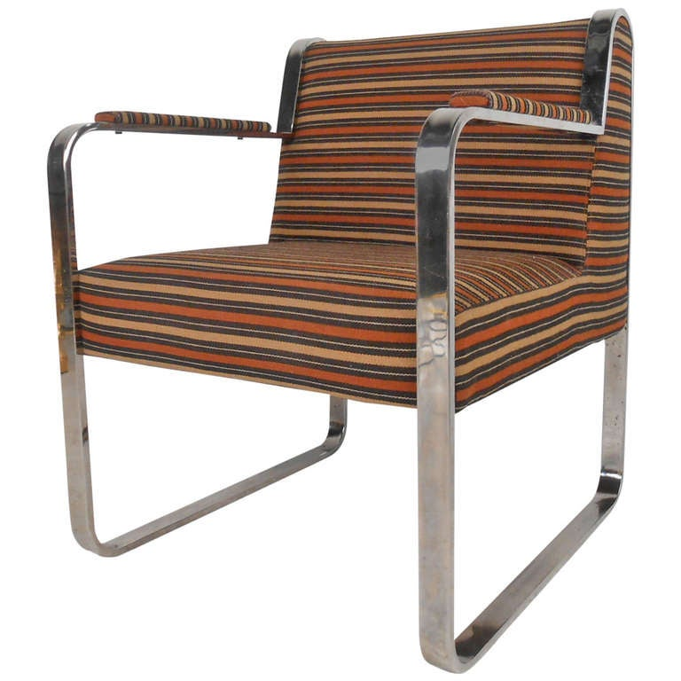 Unique Mid-Century Chrome Armchair
