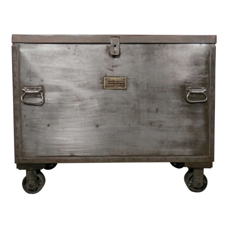 Vintage Mid Century Metal Chest On Casters At 1stdibs