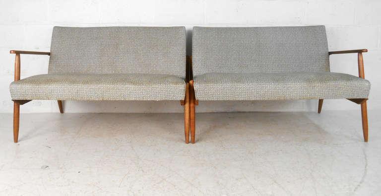 Mid Century Modern Unique Mid Century Vinyl Sectional Sofa For Sale
