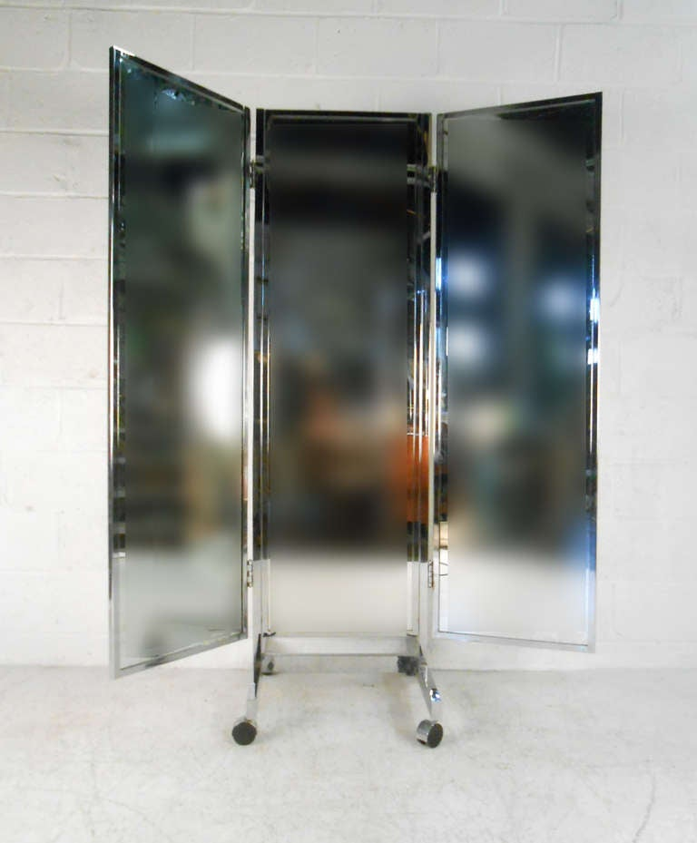 Vintage Mid Century Modern Three Panel Dressing Mirror At