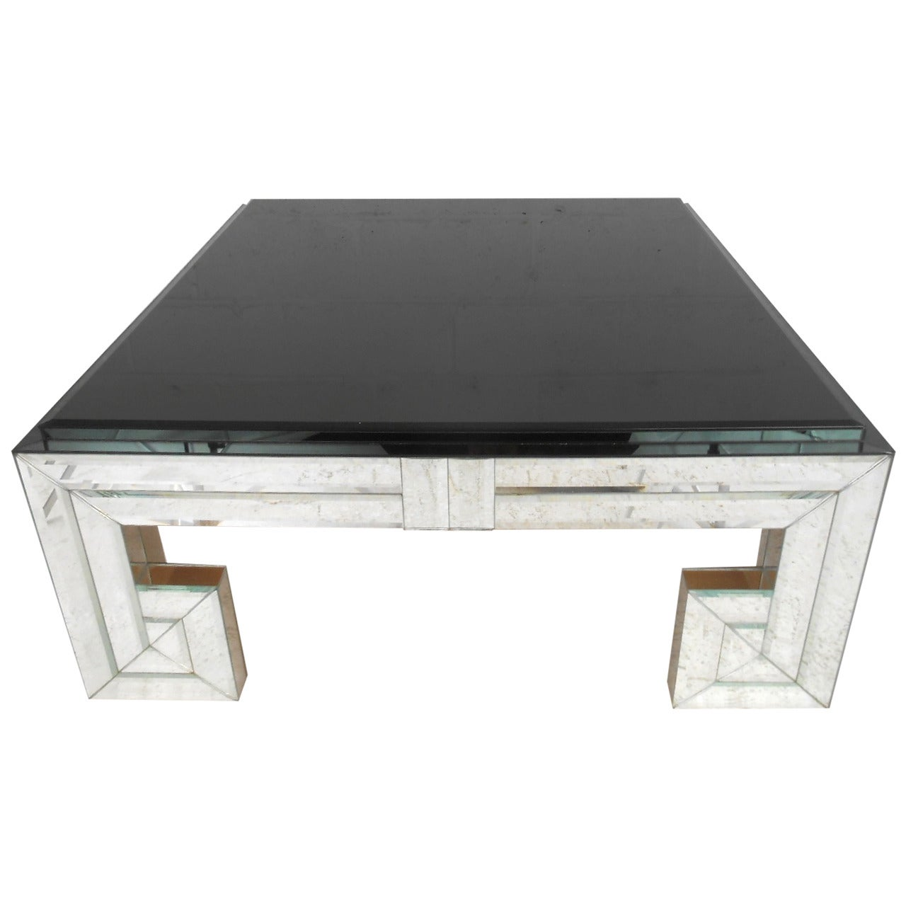 Modern Mirror and Glass Coffee Table