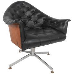 Mid-Century Modern Adrian Pearsall Style Tufted, Swivel Desk Chair