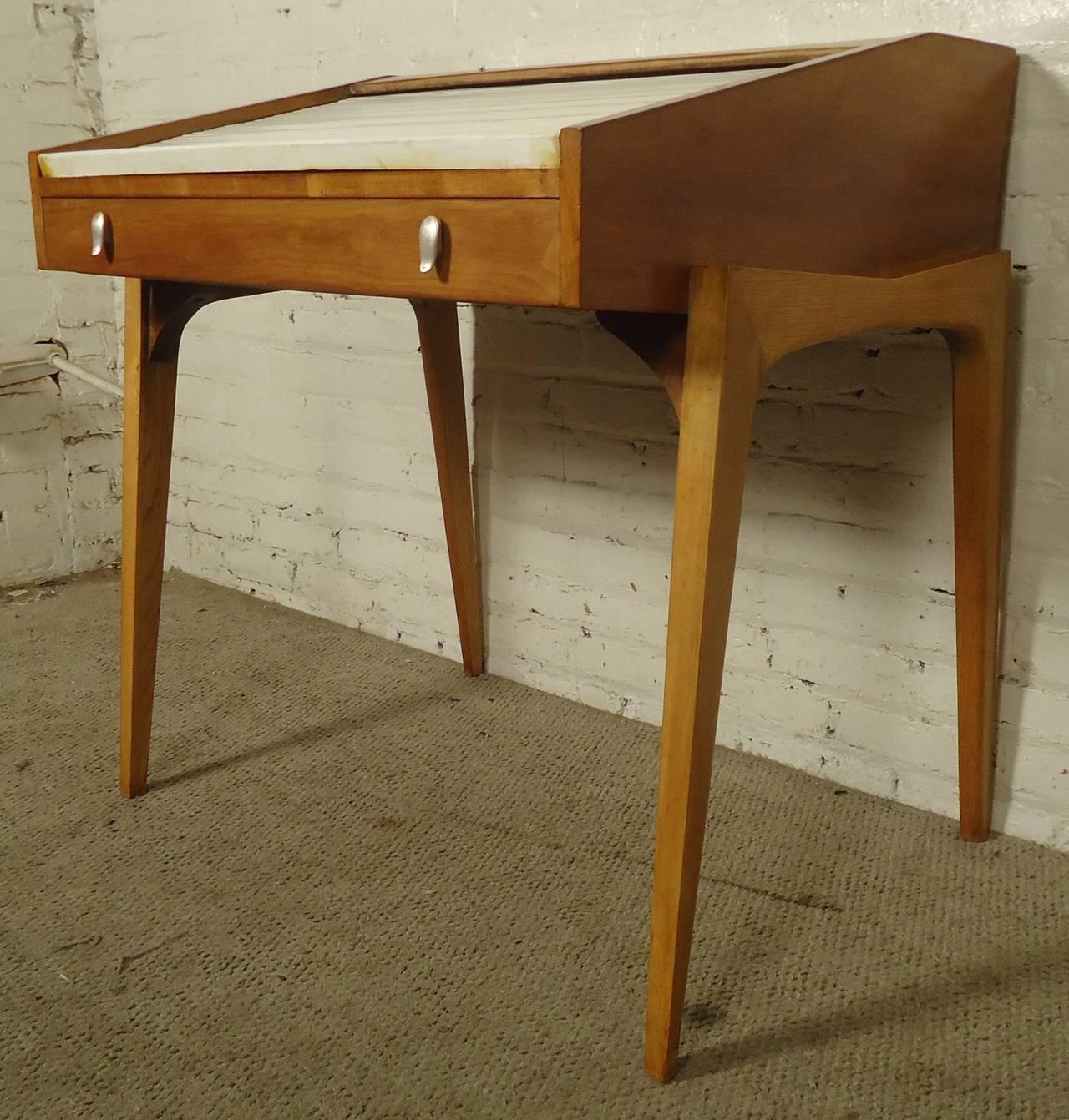 Mid Century Modern Petite Roll Top Desk And Chair By John Van Koert For