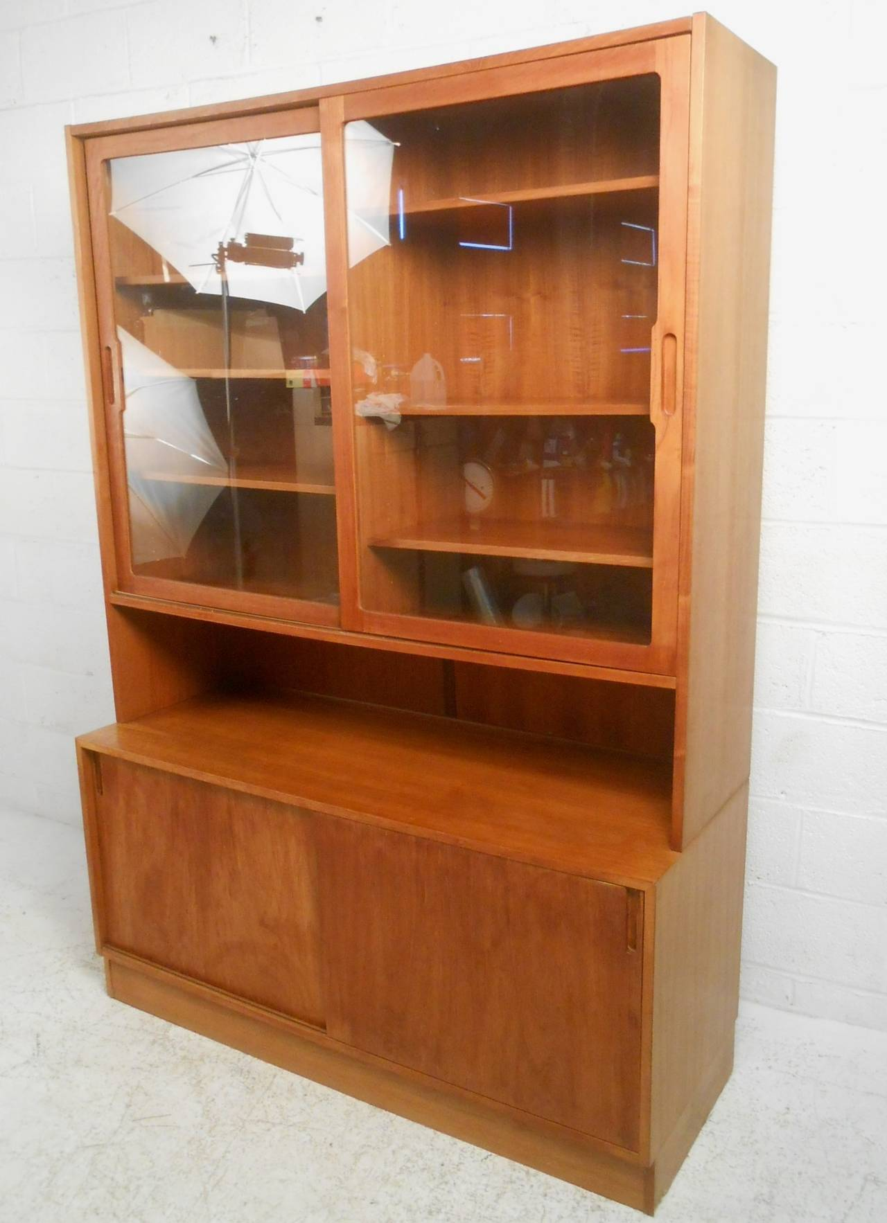 This Beautiful Danish Teak Cabinet Makes A Stylish Storage Option For Any  Room. Spacious Glass