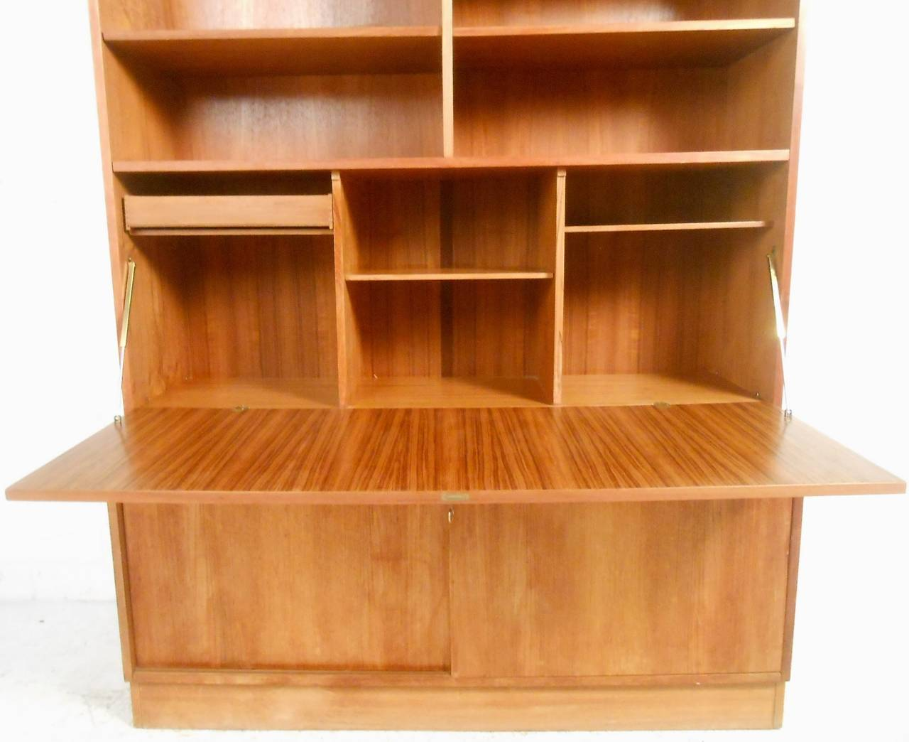Gorgeous Mid Century Modern Danish Teak Drop Front Secretary Bookcase In Good Condition For