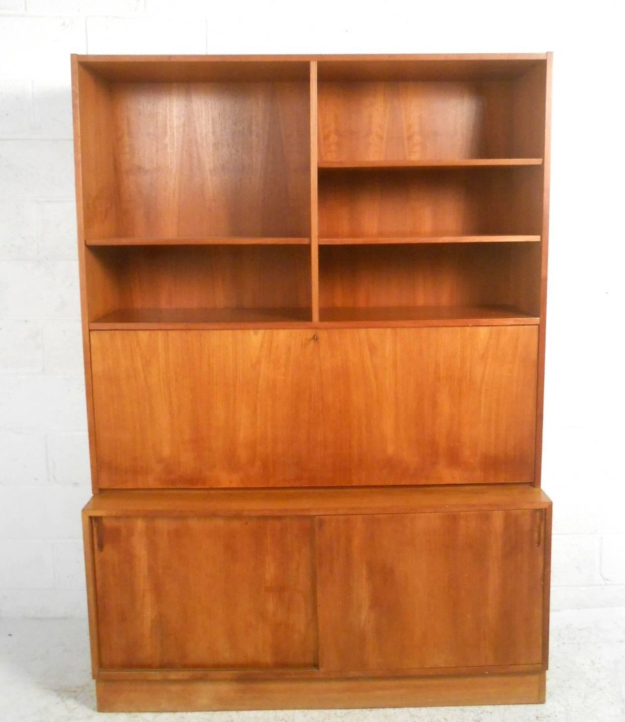 gorgeous midcentury modern danish teak dropfront secretary bookcase 2
