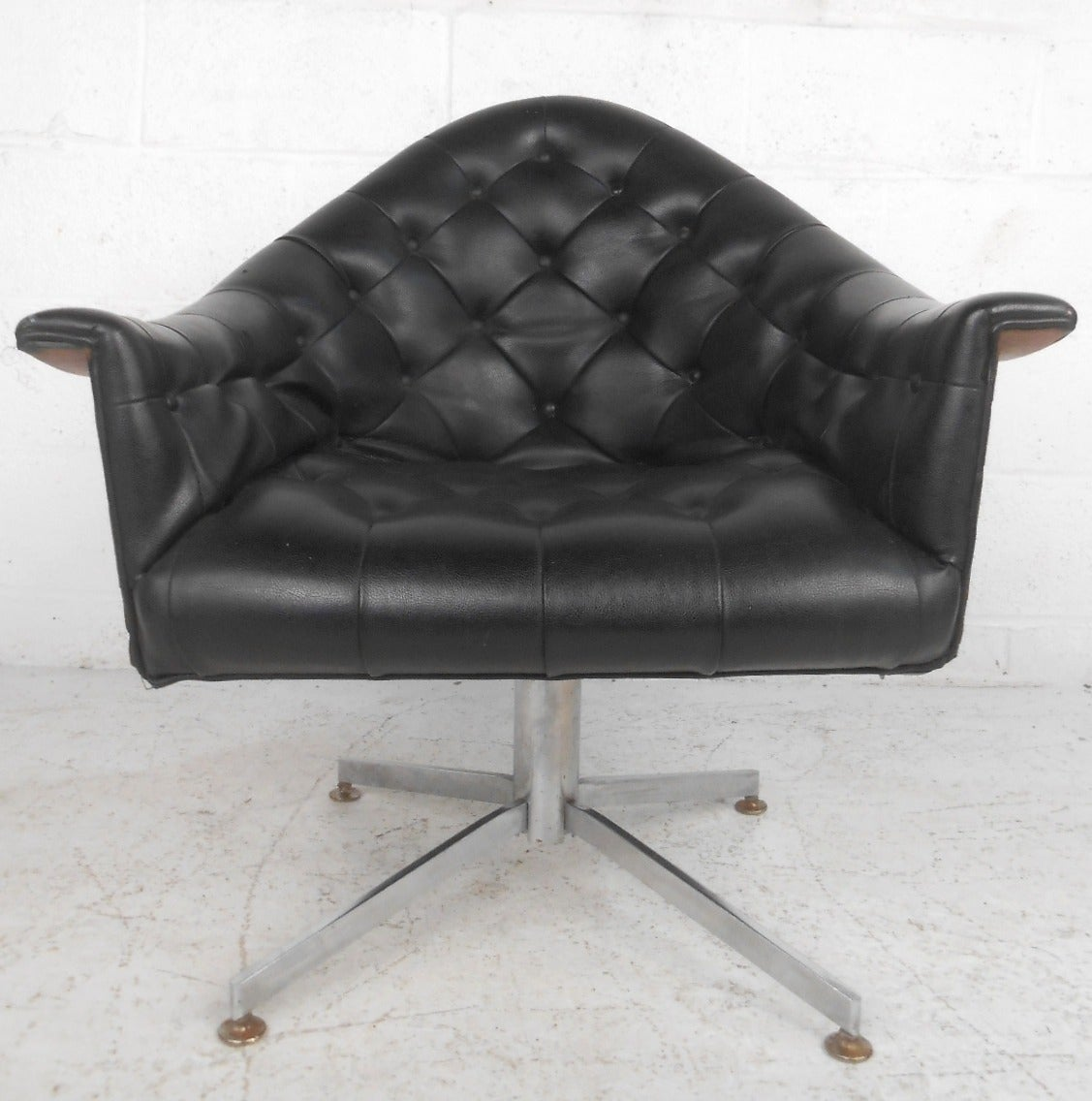 Modern swivel desk chair - Mid Century Modern Adrian Pearsall Style Tufted Swivel Desk Chair 2