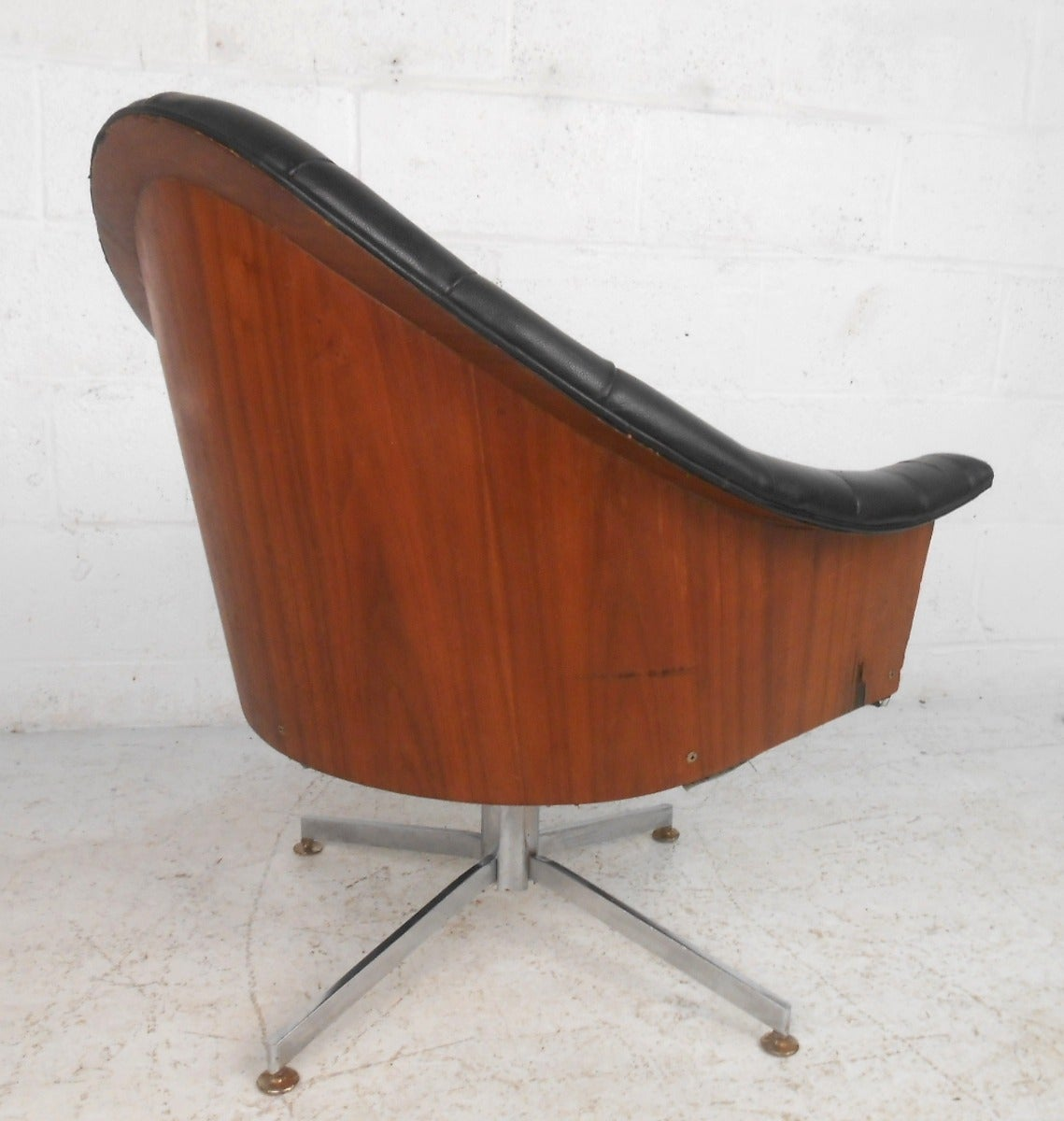 midcentury modern adrian pearsall style tufted swivel desk chair  - midcentury modern adrian pearsall style tufted swivel desk chair