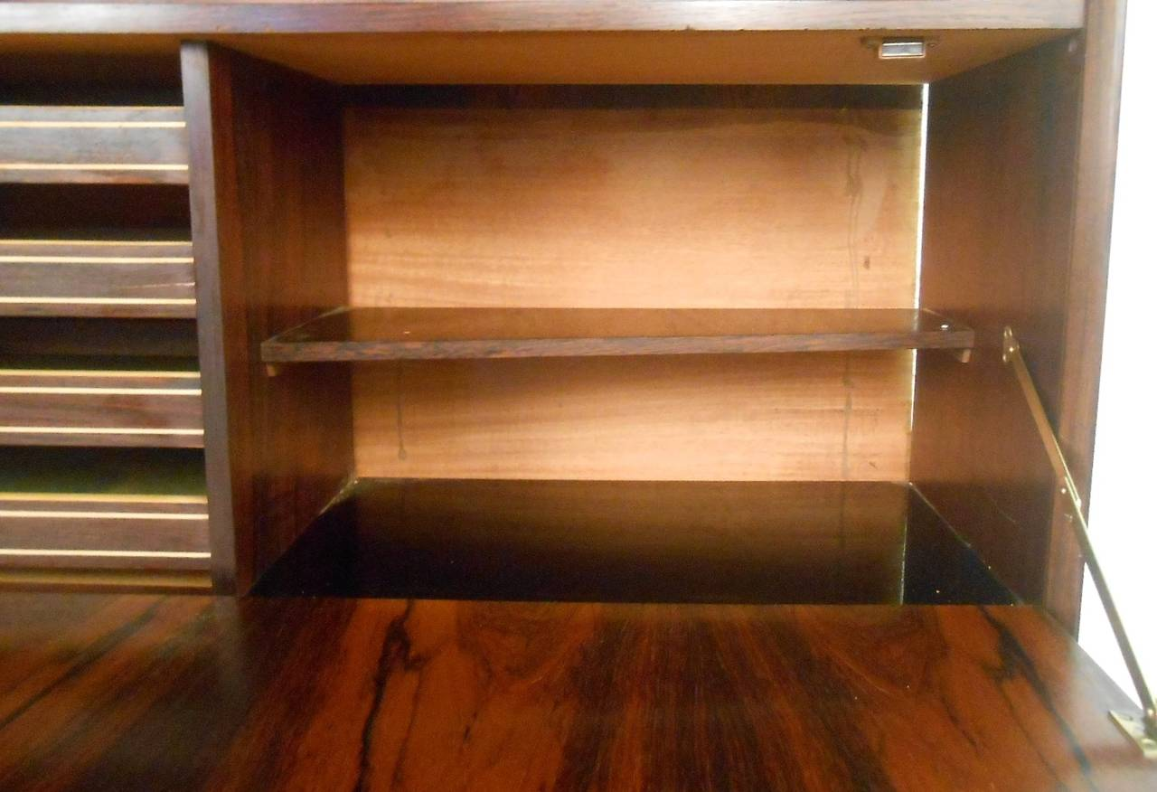 midcentury modern danish rosewood sideboard with dropfront hutch 3