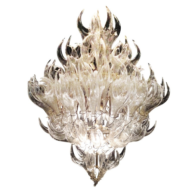 Hand blown venetian glass chandelier at 1stdibs Blown glass chandelier