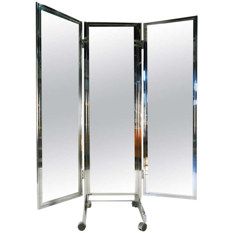 Vintage Mid Century Modern Three Panel Dressing Mirror At