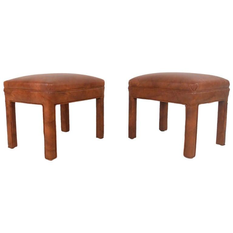 Pair of Mid-Century Vinyl Footstools