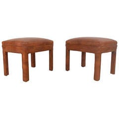 Pair of Mid-Century Vinyl Footstools