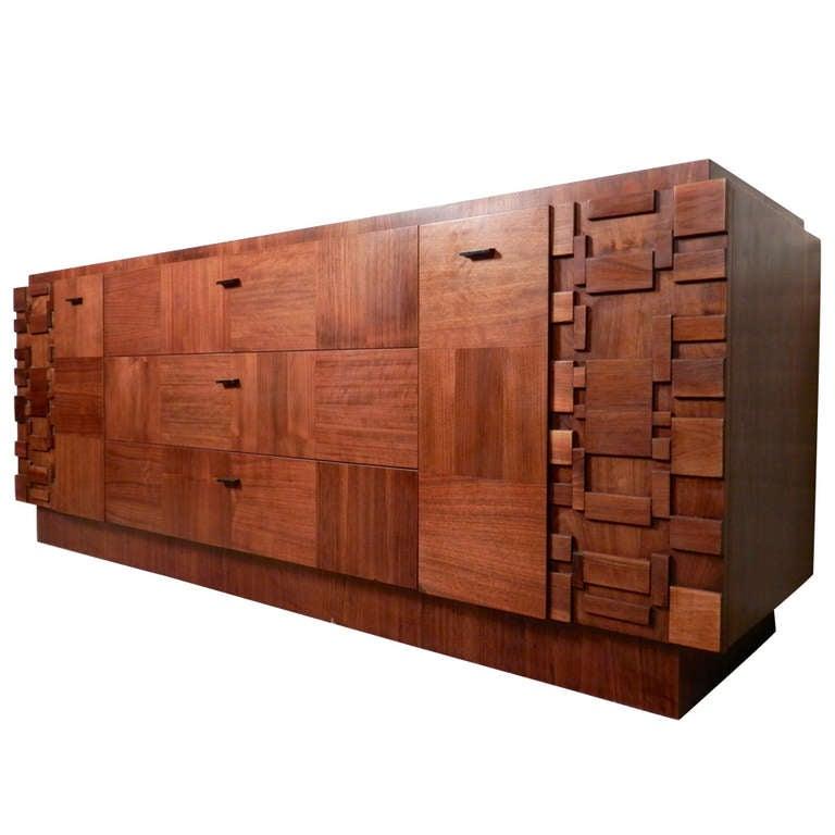 Brutalist Style Nine Drawer Dresser By Lane At 1stdibs