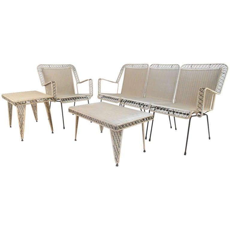 mid century modern vintage spun fiberglass patio set at