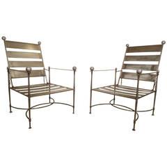 Unusual Pair of Industrial Slatted Folding Metal Armchairs