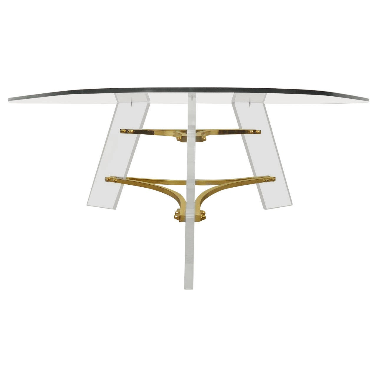Mid Century Modern Charles Hollis Jones Lucite Small: Mid-Century Lucite And Brass Base Coffee Table By Charles