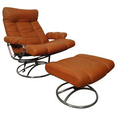 Mid-Century Reclining Chair and Ottoman by Ekornes Stressless