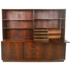 Danish Rosewood Sideboard with Drop-Front Hutch