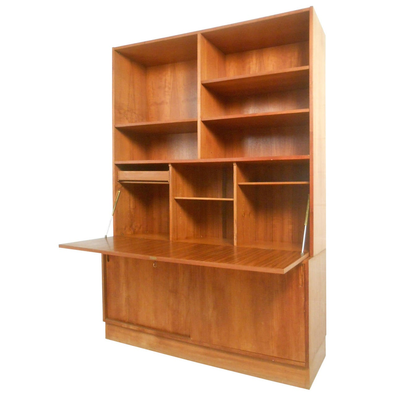 Gorgeous Mid Century Modern Danish Teak Drop Front Secretary Bookcase For