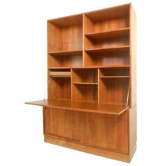 Gorgeous Mid-Century Modern Danish Teak Drop-Front Secretary Bookcase