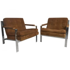 Vintage Modern Chrome Lounge Chairs by Cy Mann