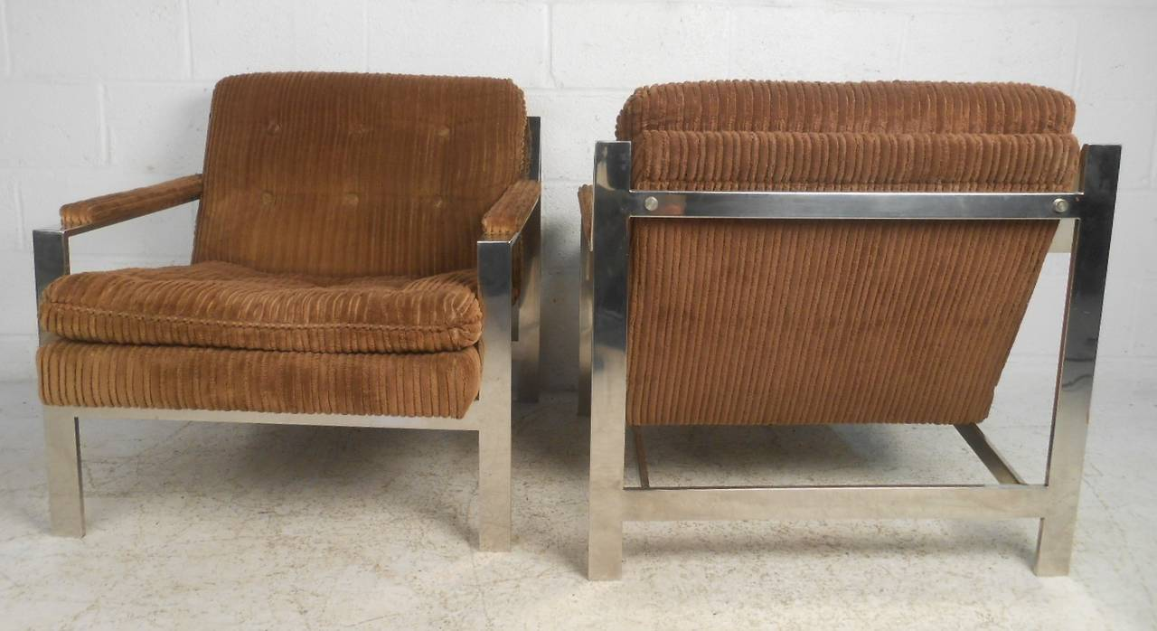 Mid-Century Modern Vintage Modern Chrome Lounge Chairs by Cy Mann For Sale